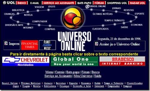Página do UOL, em 1996
