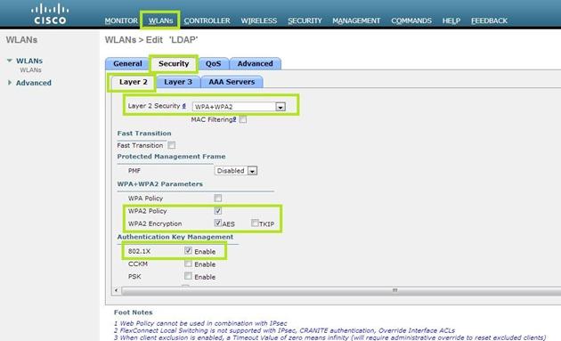 WLC - Configurando a criptografia