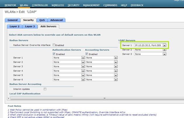 WLC - Selecionando Servidor LDAP