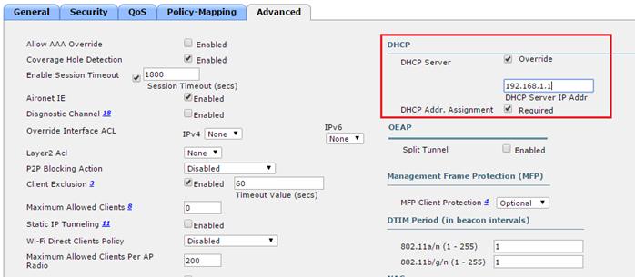WLC DHCP Override