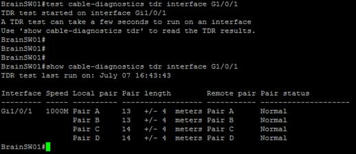 Test Cable Diagnostic TDR